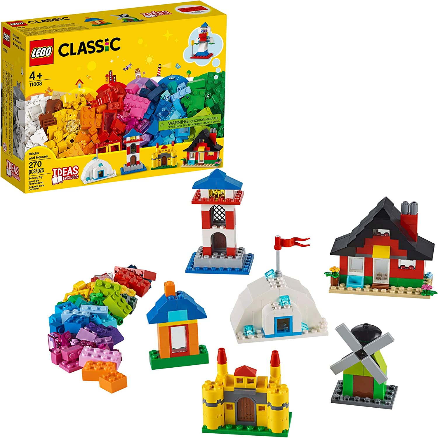 LEGO Classic Bricks and Houses 11008 Kids' Building Toy Starter Set with Fun Builds to Stimulate Young Minds, New 2020 (270 Pieces)