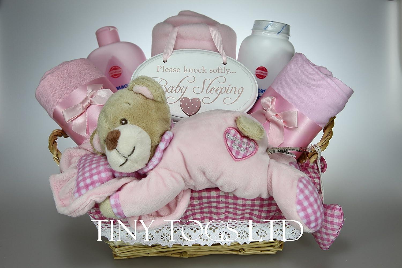 Bebé Niña o cesta de picnic con oso Saco de dormir y placa Baby Shower Regalo para Recién Nacido rosa: Amazon.es: Bebé