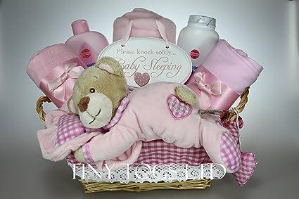 Bebé Niña o cesta de picnic con oso Saco de dormir y placa Baby Shower Regalo