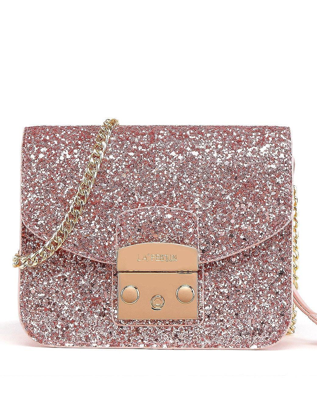 d1ae8cae5957 LA'FESTIN Messenger Side Bag for Women Mini Cute Sparkly Leather Shoulder  Purses with Chain Strap