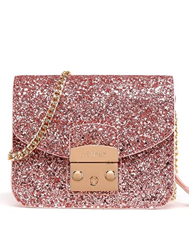 2ace615b4e09 LA FESTIN Messenger Side Bag for Women Sparkly Leather Shoulder Pink Purses  with Long Chain