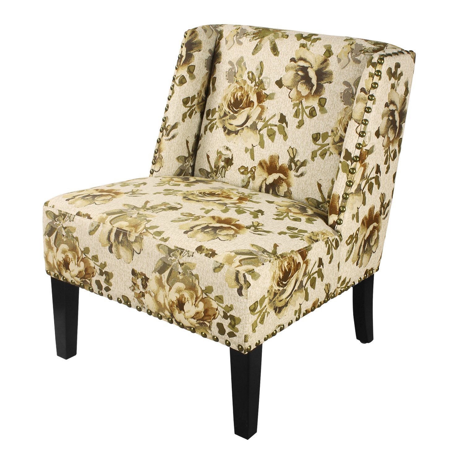 Asense Nailhead Floral Print Geometry Print 31 Inch Armless Wood Leg Accent Chair (Green Floral Print)