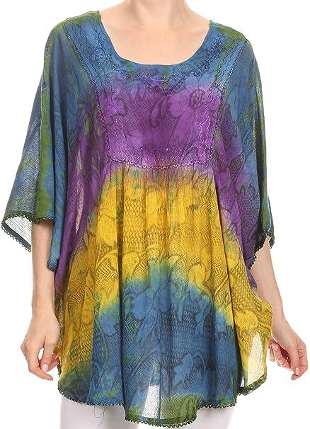 Sakkas 14031 - Ellesa Ombre Tie Dye Circle Poncho blusa Top con bordado de lentejuelas -