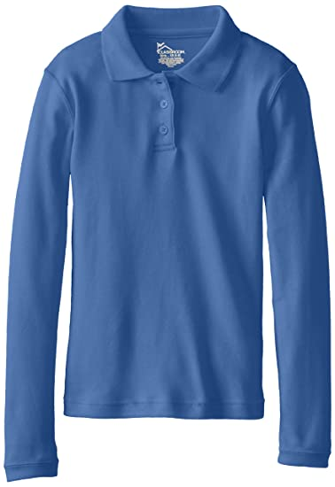 e68e6ae6 Amazon.com: CLASSROOM Girls' Long Sleeve Fitted Interlock Polo Shirt: School  Uniform Polo Shirts: Clothing