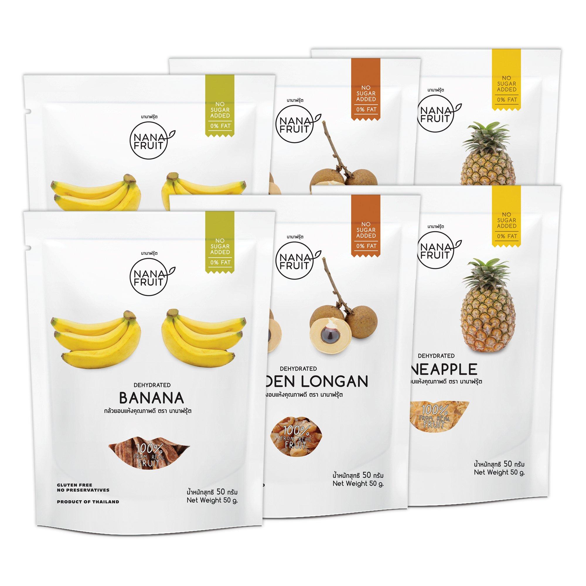 Nana Fruits Dried Banana Pack 50g. (2 Pack) Longan Pack 50g. (2 Pack) and Pineapple Pack 50g. (2 Pack)