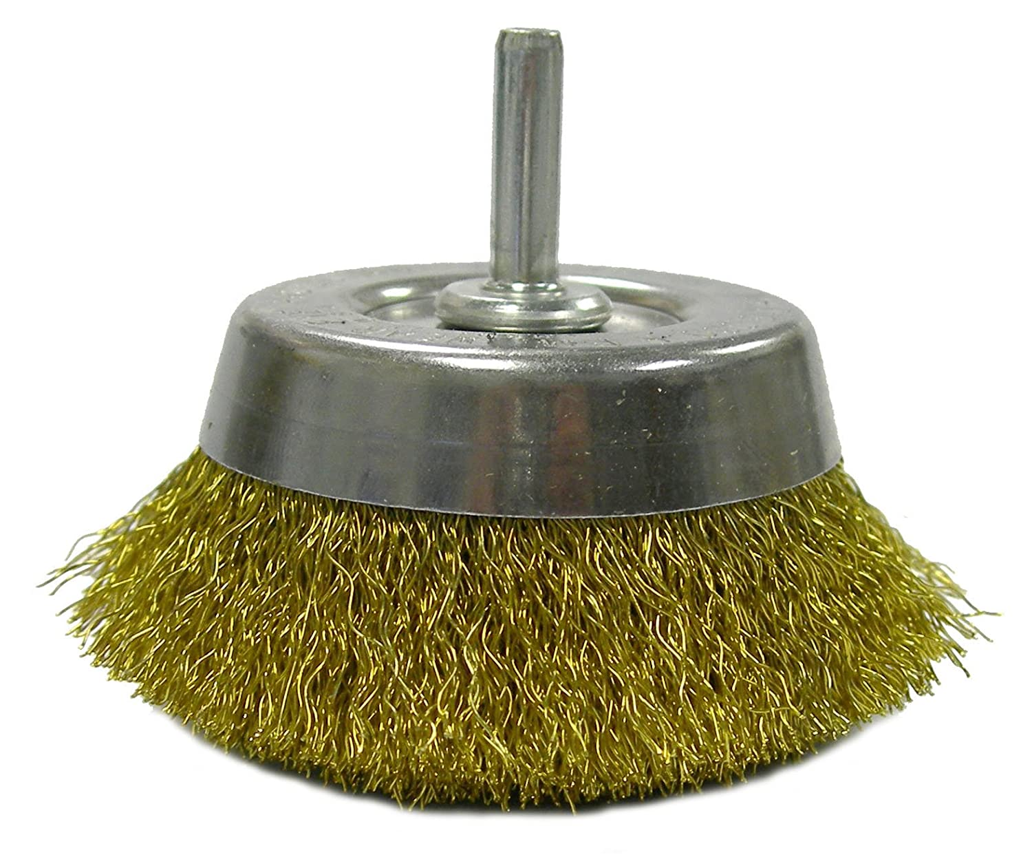 Weiler 14311 Crimped Wire Utility Cup Brush, 2-3/4', 0.118' Brass Fill, 1/4' Stem