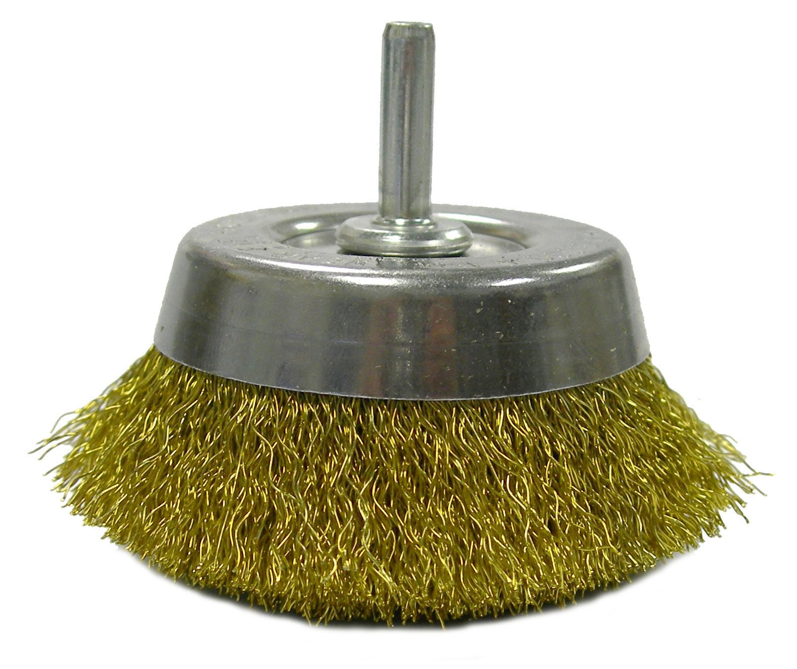 Weiler 14311 Crimped Wire Utility Cup Brush, 2-3/4'', 0.118'' Brass Fill, 1/4'' Stem