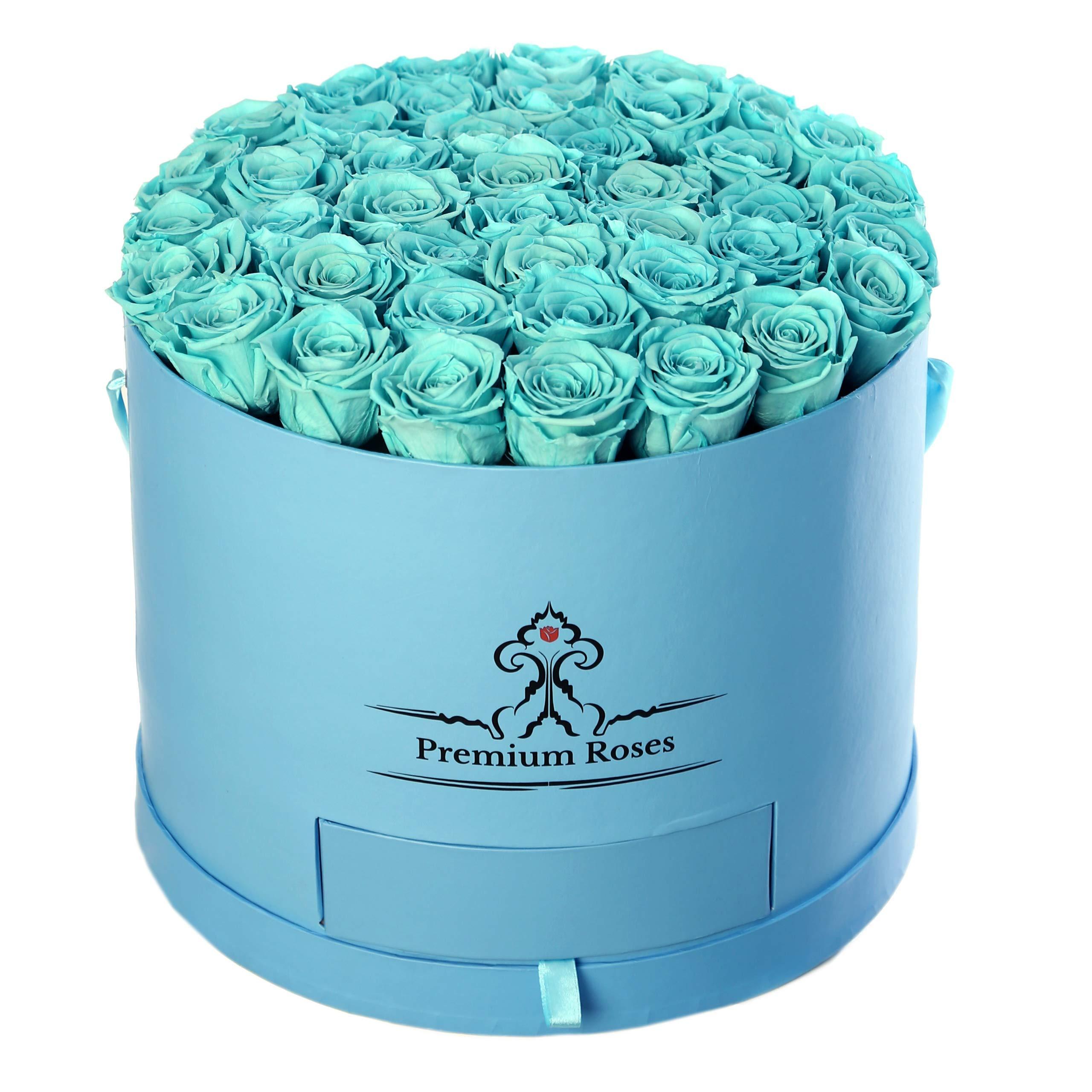 Premium Roses| Model Sky Blue| Real Roses That Last 365 Days| Fresh Flowers (Blue Box)