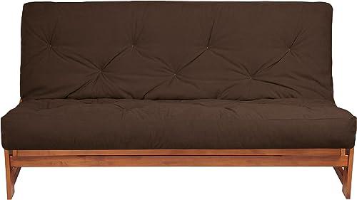 Mozaic 8-Inch Futon Mattress, Twin, Dark Brown Suede