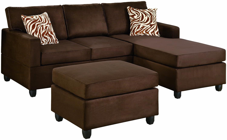 Bobkona Manhattan Reversible Microfiber 3 Piece Sectional Sofa Set  ~ Chocolate Sectional Sofa Set With Chaise