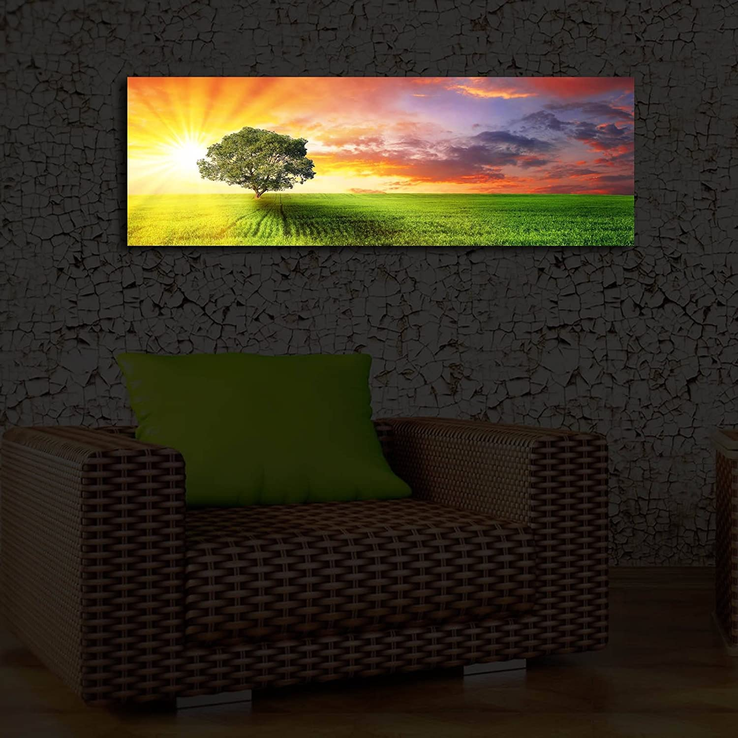 """LaModaHome Decorative Canvas Wall Art (11.5"""" x 35"""") Wooden Thick Frame Painting/LED Light Inside Sky Cloud Tree Forest Nature Green Branch Spring 3090İACT-35 Multicolor"""