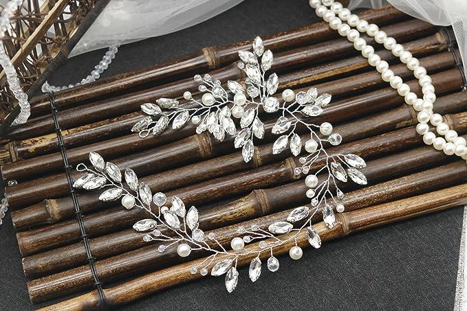 handmadejewelrylady boda brillantes diadema novia pelo Vine para mujer noche  fiesta accesorios para el pelo  Amazon.es  Belleza faa4fd669a79