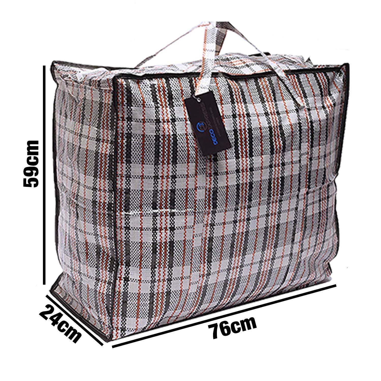 Paquete de 8 bolsas de compras XX-Large STRONG Storage Laundry - Bolsas XXL con cremallera y asas a cuadros - Bolsa reutilizable con cierre de cremallera ...