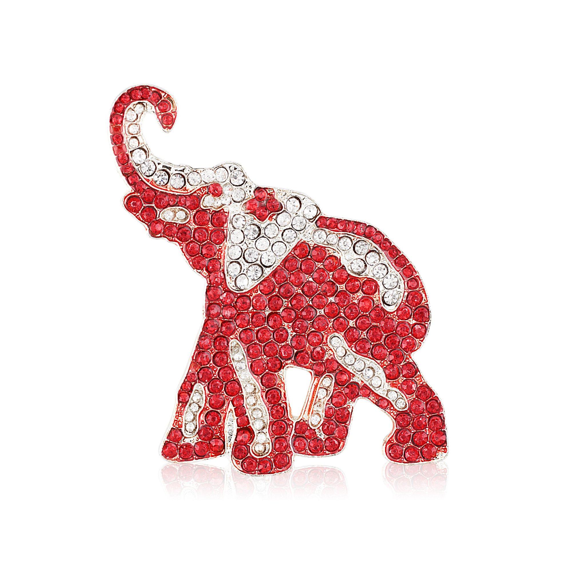Crimson and Crystal Rhinestone Elephant Brooch (Silver Tone)