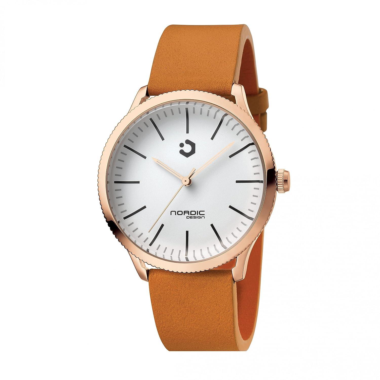 NORDIC DESIGN HAMAR VI rosÈ gold Edelstahl weiß - Armband: Echtleder braun 20 mm
