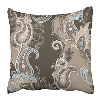 Emvency Decorative Throw Pillow Covers Cases Folk Paisley Pattern in Beige  Brown Peach and Light Blue b3ef20d47