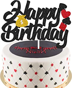 Poker Cake Topper Birthday Decorations Casino Scene Playing Card Theme Picks for Adults Man Women Event Party Supplies Gold Glitter Decor - 1 Piece Double Sides Glitter