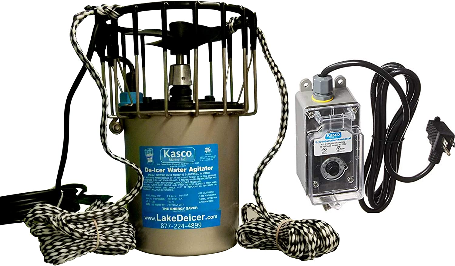 Kasco Deicer 3400D50 w/C-10 Timer Thermostat Controller 3/4 HP 50 FT Cord