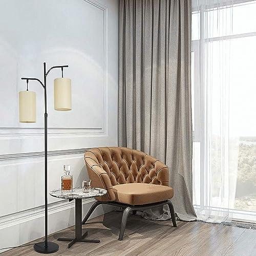 2-Light Modern Farmhouse Floor Lamp Rustic Arc Standing Lamp