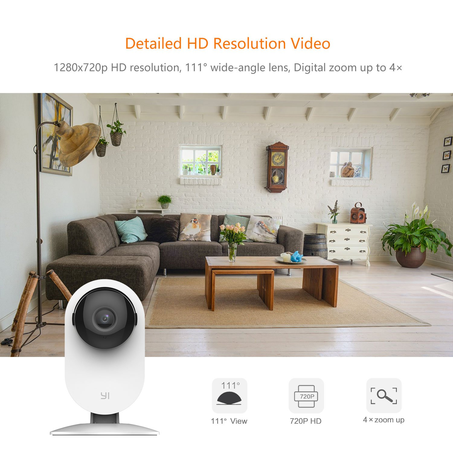 YI Home Camera, Security Camera Wireless IP Surveillance Camera with Night Vision Activity Detection Alert Baby Monitor, Remote Monitor with iOS, Android App - Cloud Service Available (2 Pack) by YI (Image #2)