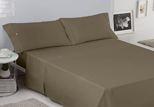 ES-TELA - Juego de sábanas LISOS BIÉS 200 hilos color Visón (4 ...