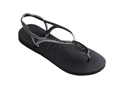 90d5682129e7 Havaianas Luna Special Black Sandal - UK 8-9  Amazon.co.uk  Shoes   Bags