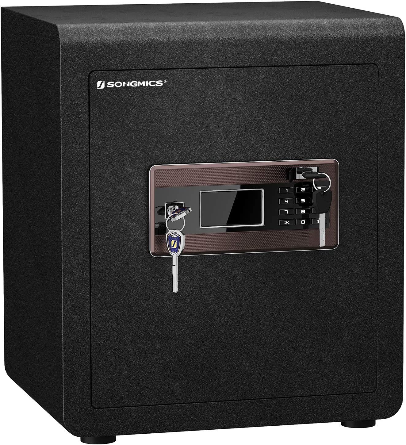SONGMICS Safe Box, Security Safe, 1.6 Cubic Feet, Dual Locking System, with Digital Keypad, Manual Override, Adjustable Divider, Alarm Function, Anti-Theft, for Home Office Hotel, Black ULBX115B01
