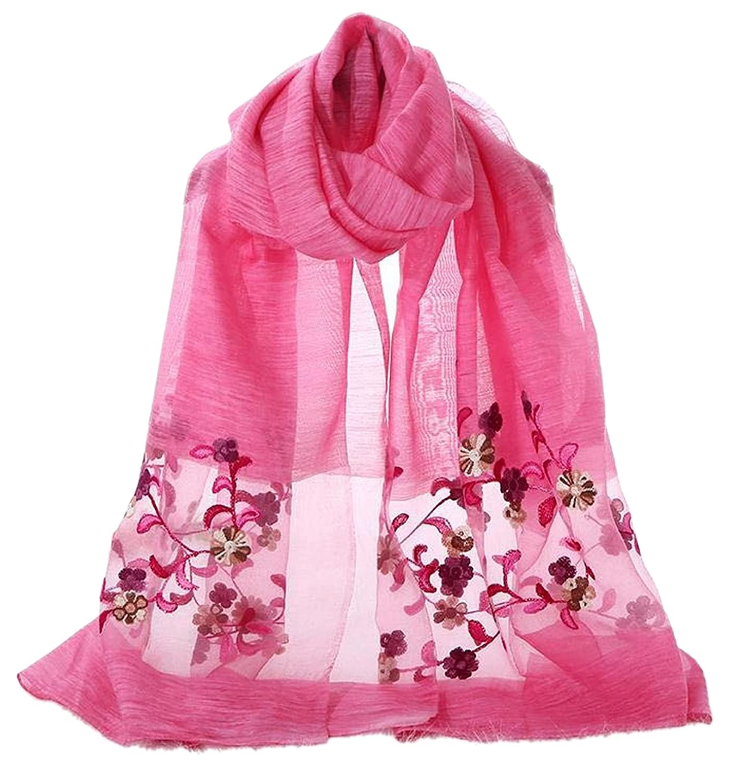 Delicately Embroidered with Floral Motifs Silk Feel Scarf Wrap Shawl Stole Head Scarves (Off White)