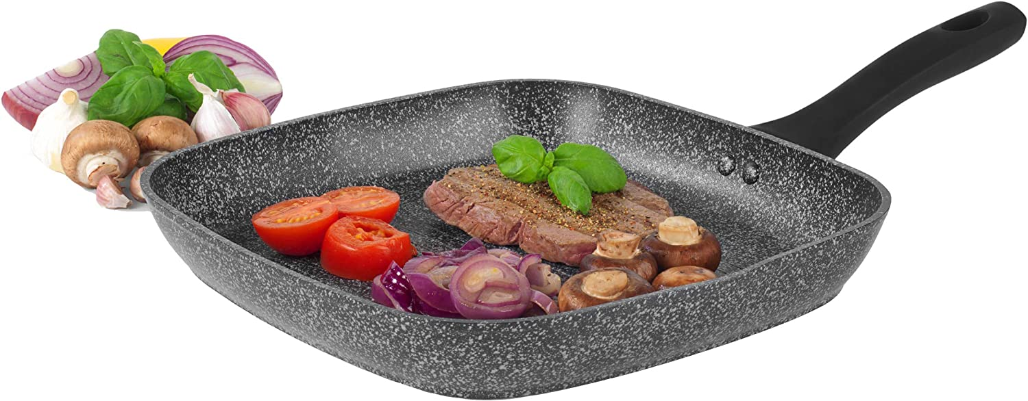 Salter BW05752S Megastone Collection Non-Stick Forged Aluminium Griddle Pan, 28 cm, Silver