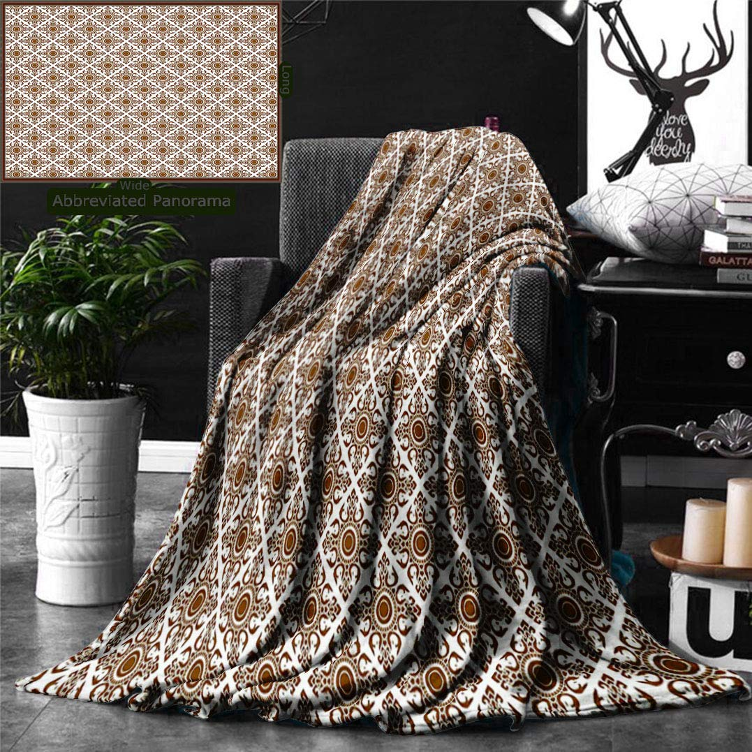 Unique Custom Double Sides Print Flannel Blankets Ethnic Thai Mosaic Art Culture Stylized Abstract Lines Dots Pattern Folk Asian Des Super Soft Blanketry for Bed Couch, Throw Blanket 60 x 50 Inches