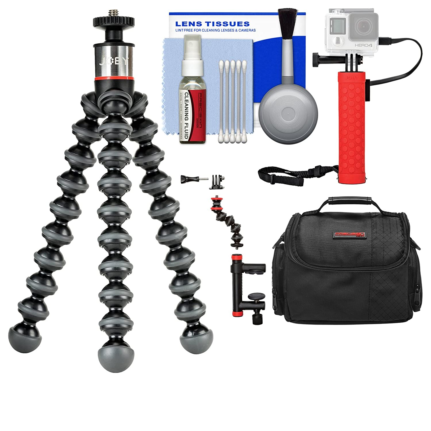 Joby GorillaPod 500 Flexible Tripod with Case + Hand Grip + Action Camera Clamp + Kit