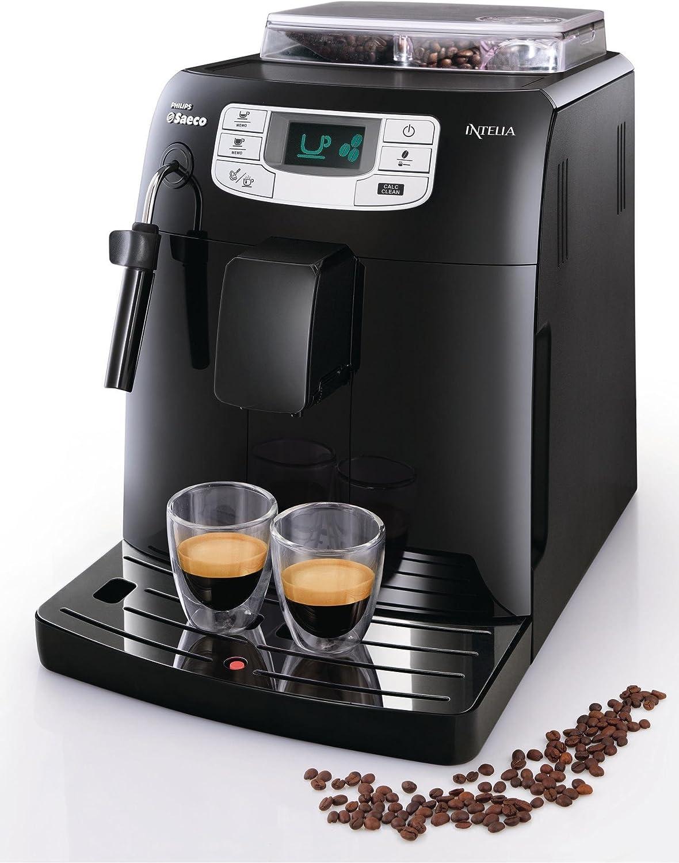 Saeco HD8751/11 - Cafetera Saeco Intelia espresso automática color negro, 1900W, espumador de leche, función de memoria, bandeja antigoteo: Amazon.es: Hogar
