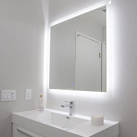 Amazon Com San Jose Window Shade Co Backlit Led Bathroom Mirror W Anti Fog Surface 36 X 36 Large Wall Mounted Mirrored Vanity Crystal Clear Vision Horizontal Or Vertical Placement Easy Install Home