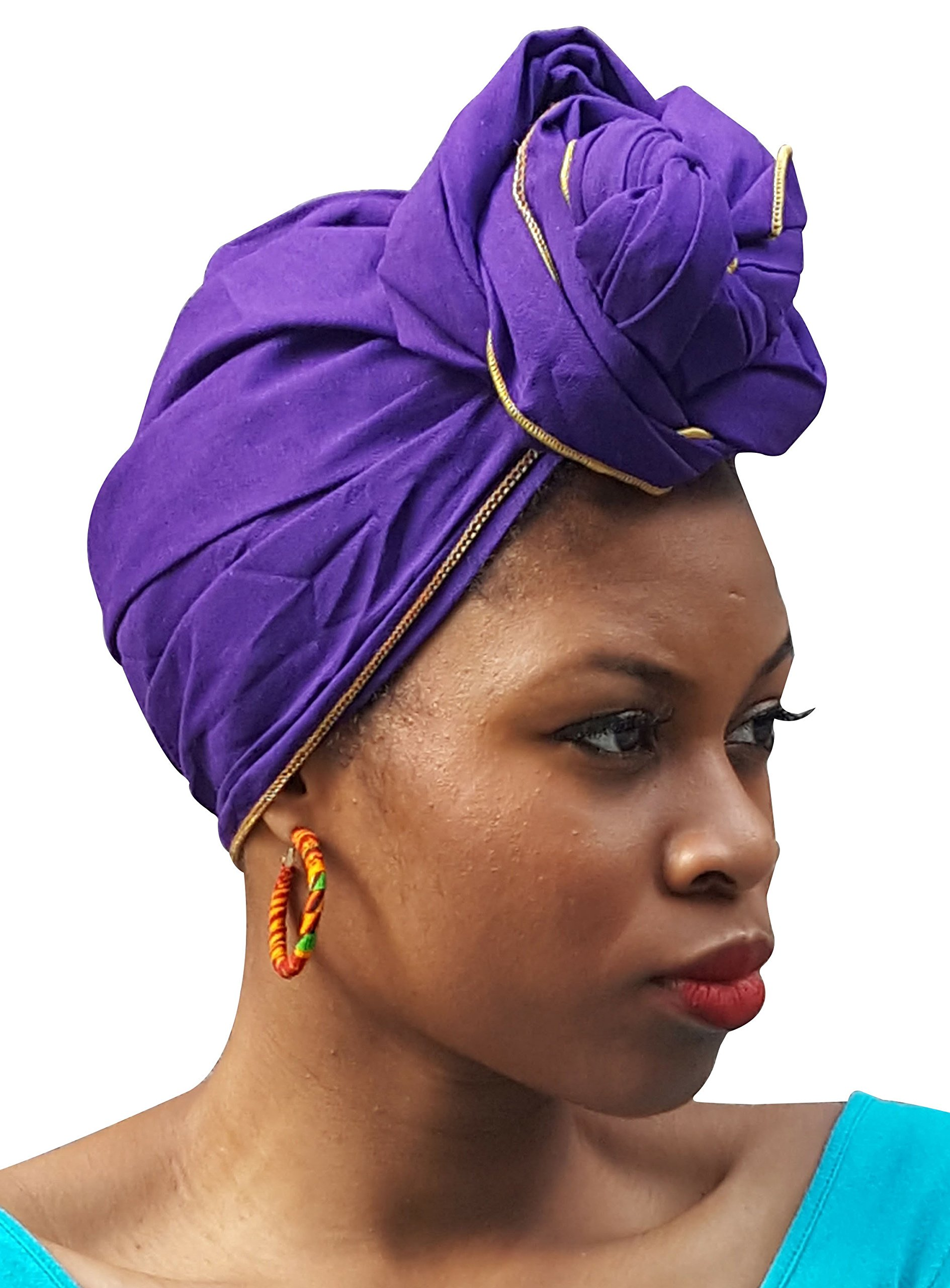 Purple African Cotton head wrap Scarf with Gold Trim