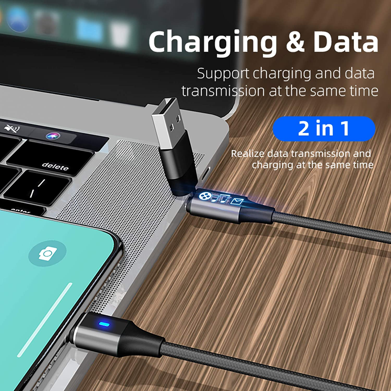 Nylon Braided USB A to C and Compatible to Charge Micro USB Type-C iOS and Clip-on Tip Holder. 2 Pack BIG+ 6-in-1 PD60W Magnetic Charging Cable - Wow!
