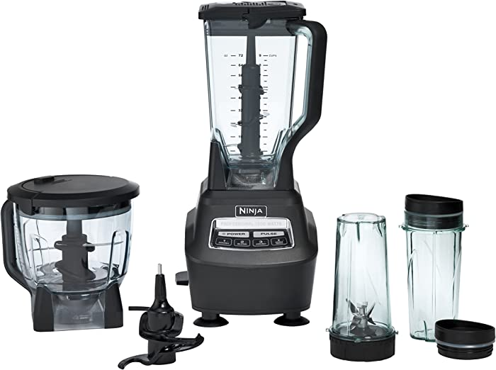 Ninja BL770 Mega Kitchen System and Blender with Total Crushing Pitcher, Food Processor Bowl, Dough Blade, To Go Cups, 1500-Watt Base, Black