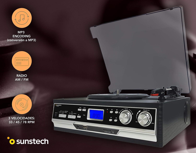 Sunstech PXR22 - Giradiscos con 3 velocidades (Radio, USB y ...