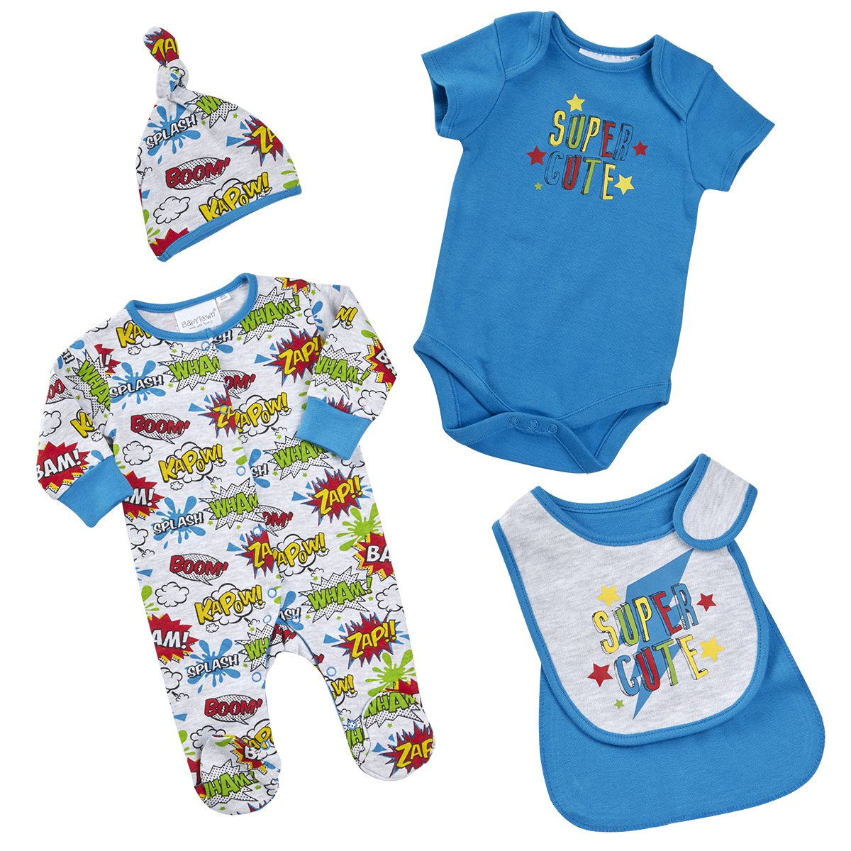 BABYTOWN Baby Boy Sleepsuit Set Superhero Comic 4 Piece Newborn to 9-12 months