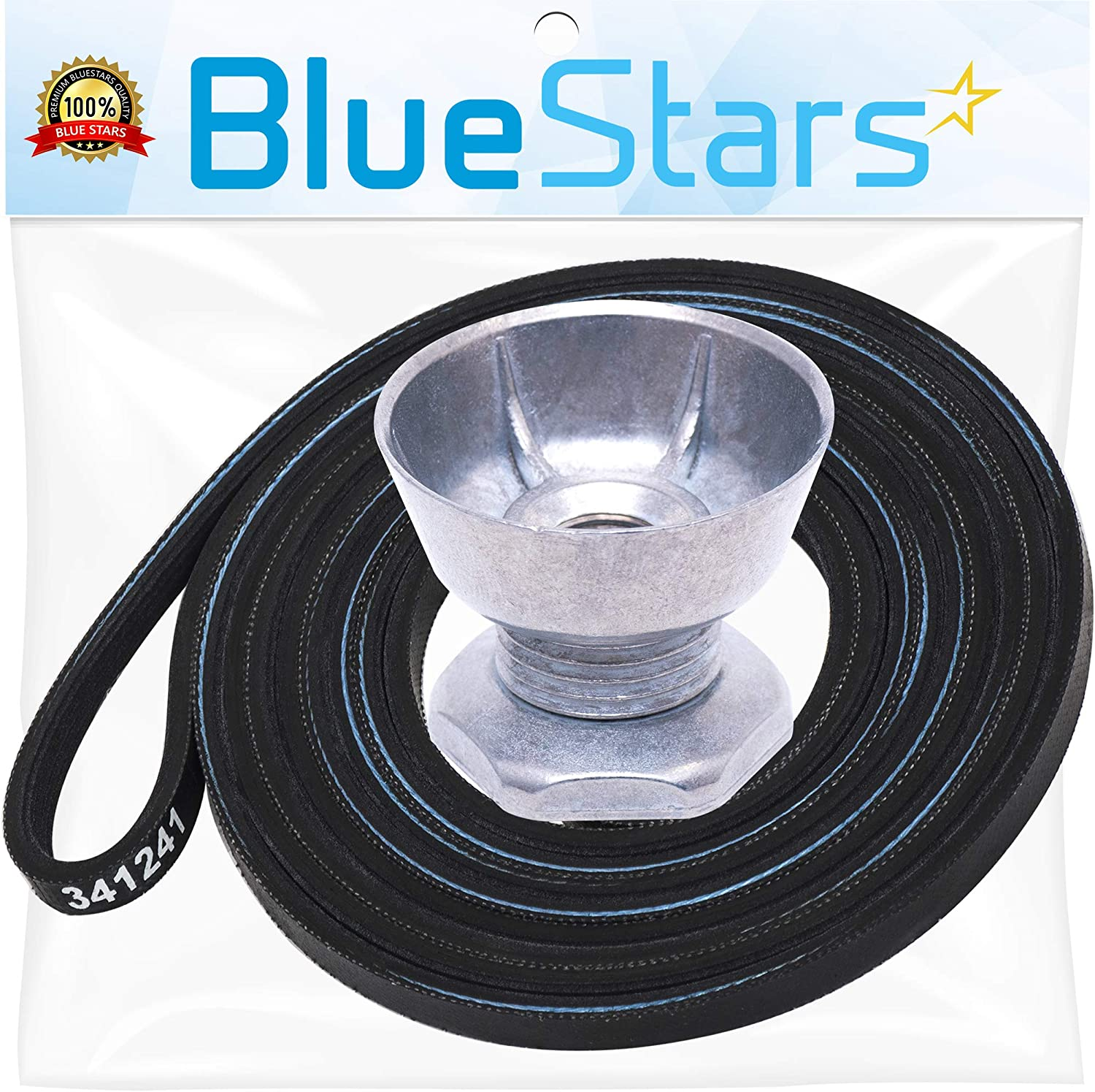 Ultra Durable 8066184 Dryer Motor Pulley & 341241 Dryer Drum Belt Kit Replacement by Blue Stars - Exact Fit for Whirlpool Maytag Kenmore Dryers - Replaces PS11744884 AP2946843