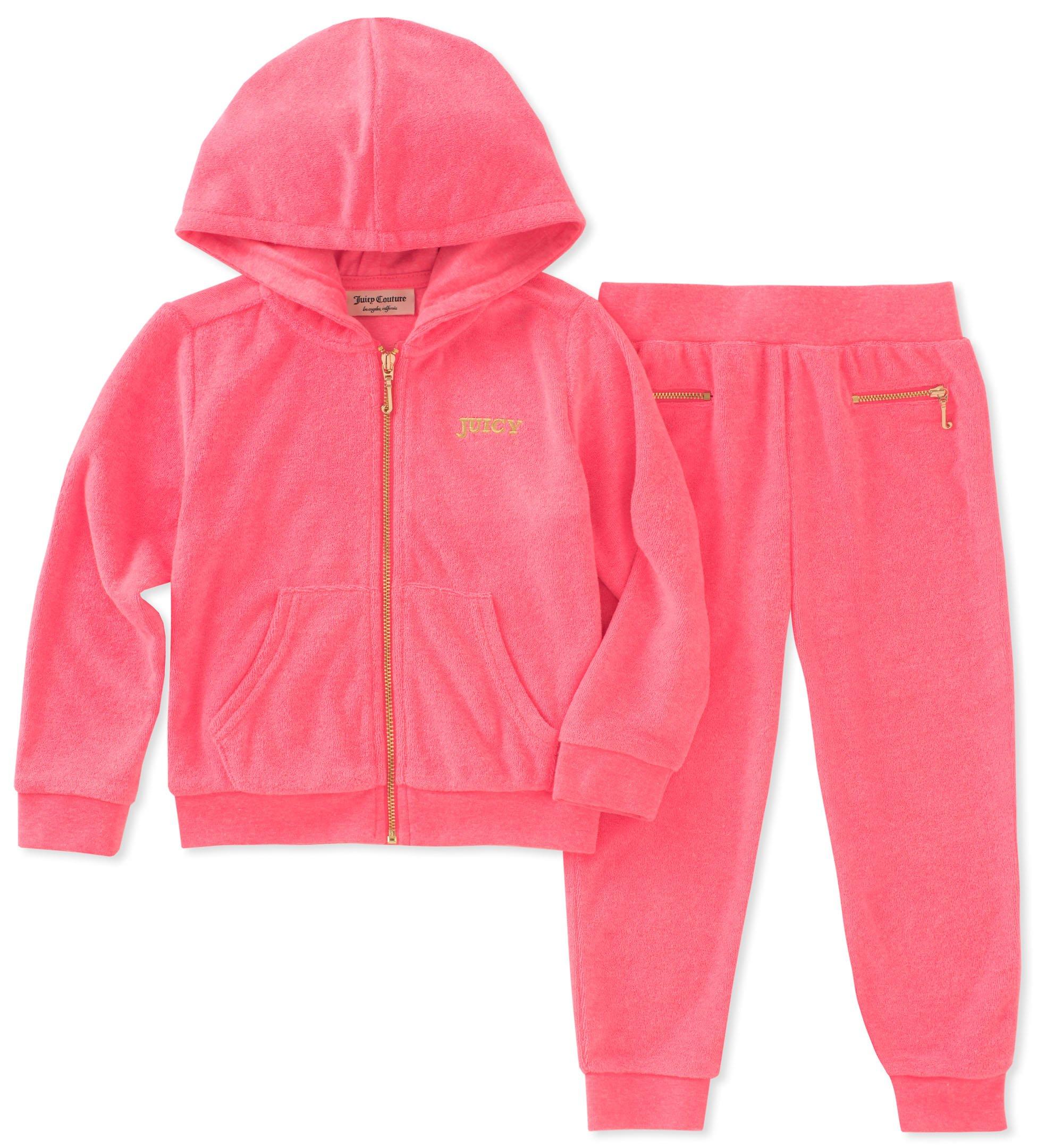 Juicy Couture Girls' Little 2 Pieces Jog Set, Pink, 6