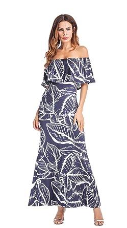 ec925701d087 Clasichic Off Shoulder Maxi Dress Ruffle Overlay Summer Long Dress Tulle  Summer Beach Dress  Amazon.co.uk  Clothing