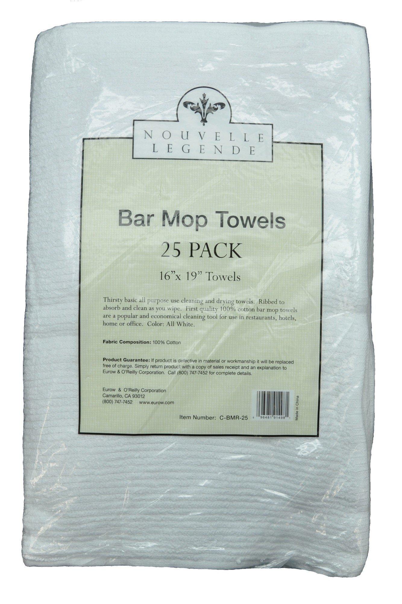 Nouvelle Legende Cotton Bar Mop Ribbed Towels Commercial Grade (25-Pack) by Nouvelle Legende (Image #2)