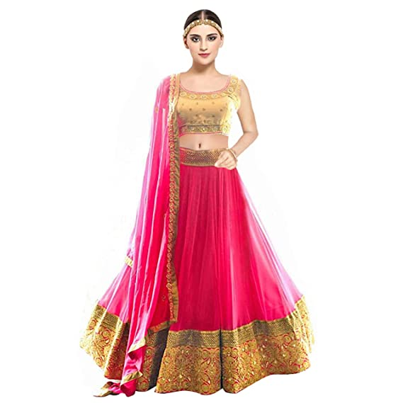 Kesari King Women S Net Embroidery Lehengas Choli With Blouse Piece
