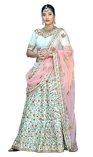 c08727159680 Silk Bridal Designer Wedding Lehenga choli for women (Mint Green, Free  Size): Amazon.in: Clothing & Accessories