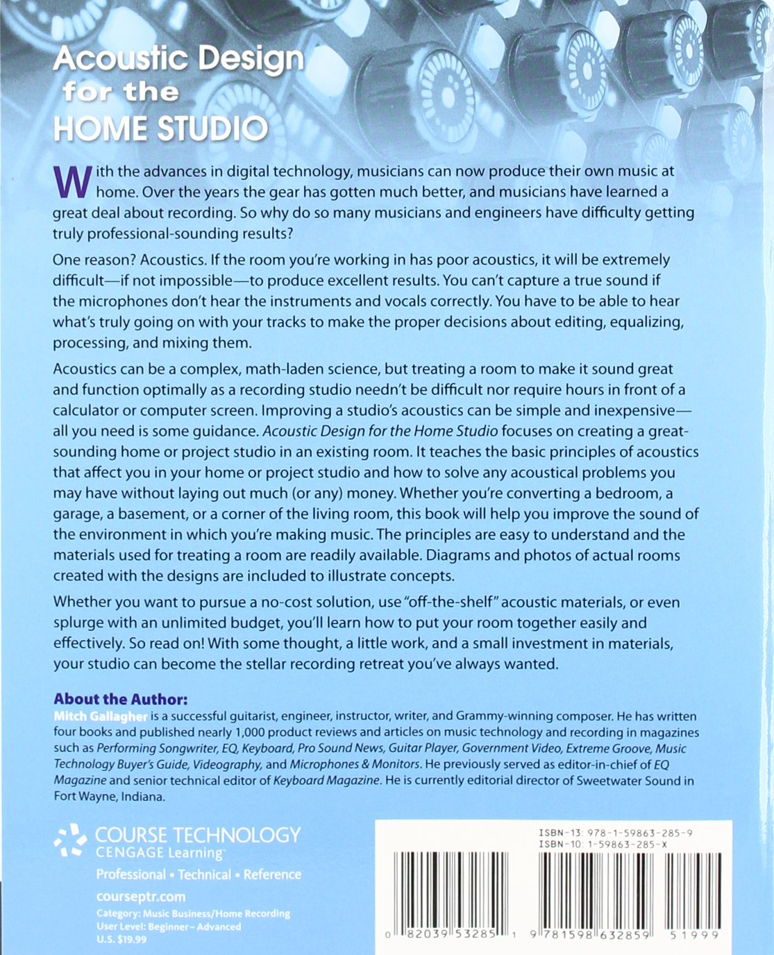 Acoustic Design For The Home Studio: Inc. Course Technology: Amazon.com.mx:  Libros