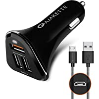 Amkette Power Pro 3 Port USB Car Charger with Quick Charge 3.0 + Braided Micro USB Cable (Black) (with Micro USB Cable)