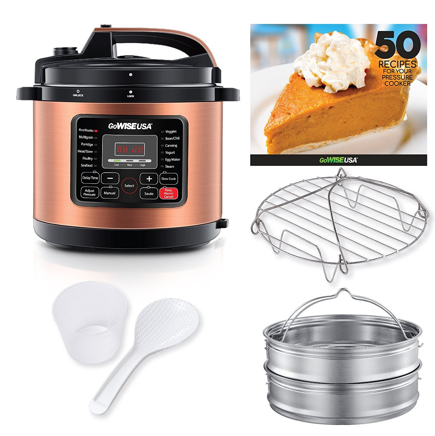 GoWISE USA 12-in-1 Electric Pressure Cooker with Measuring Cup, Stainless Steel Rack and Basket, and Spoon (10-QT, Copper)