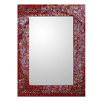 Amazon.com: NOVICA Orange and Red Glass Mosaic Wood Framed ...