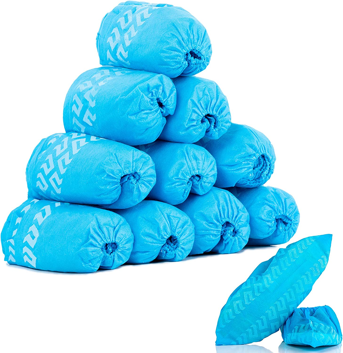 Shoe Covers Disposable Non Slip, 100 Pack (50 Pairs) Non Woven Fabric, Breathable, Non-Slip, Water Resistant Boot & Shoe Covers for Home Improvement - Indoors, Fits up to US Men 11, Women 11.5, Blue