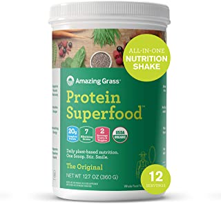 product image for Amazing Grass Protein Superfood: Vegan Protein Powder, All in One Nutrition Shake, Unflavored, 12 Servings